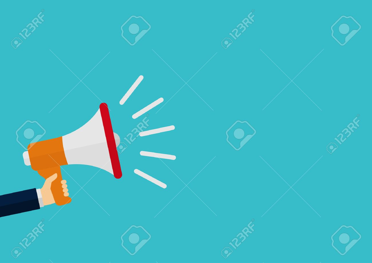 Vector illustration of a megaphone in his hand. - 39521769