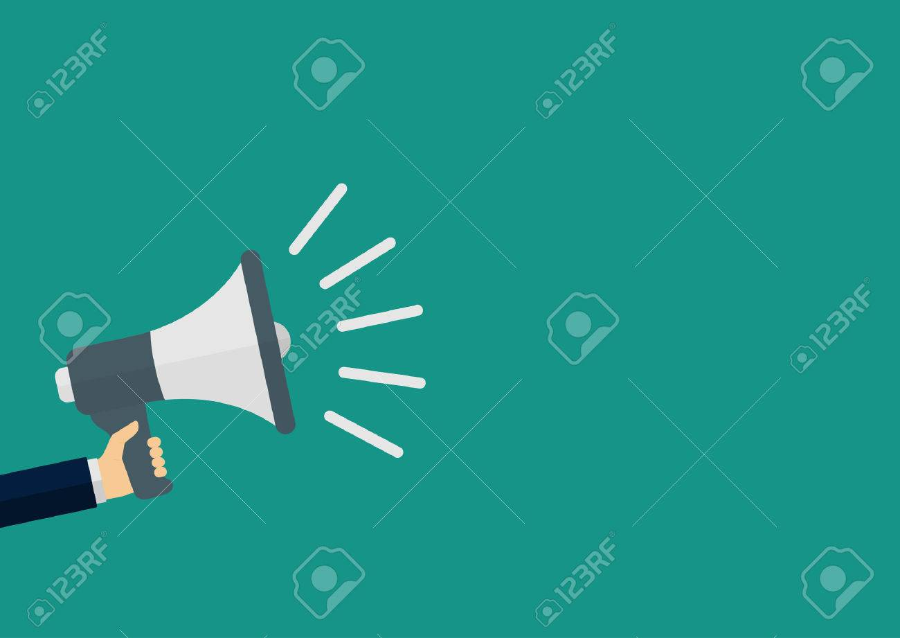 Vector illustration of a megaphone in his hand. - 48740332