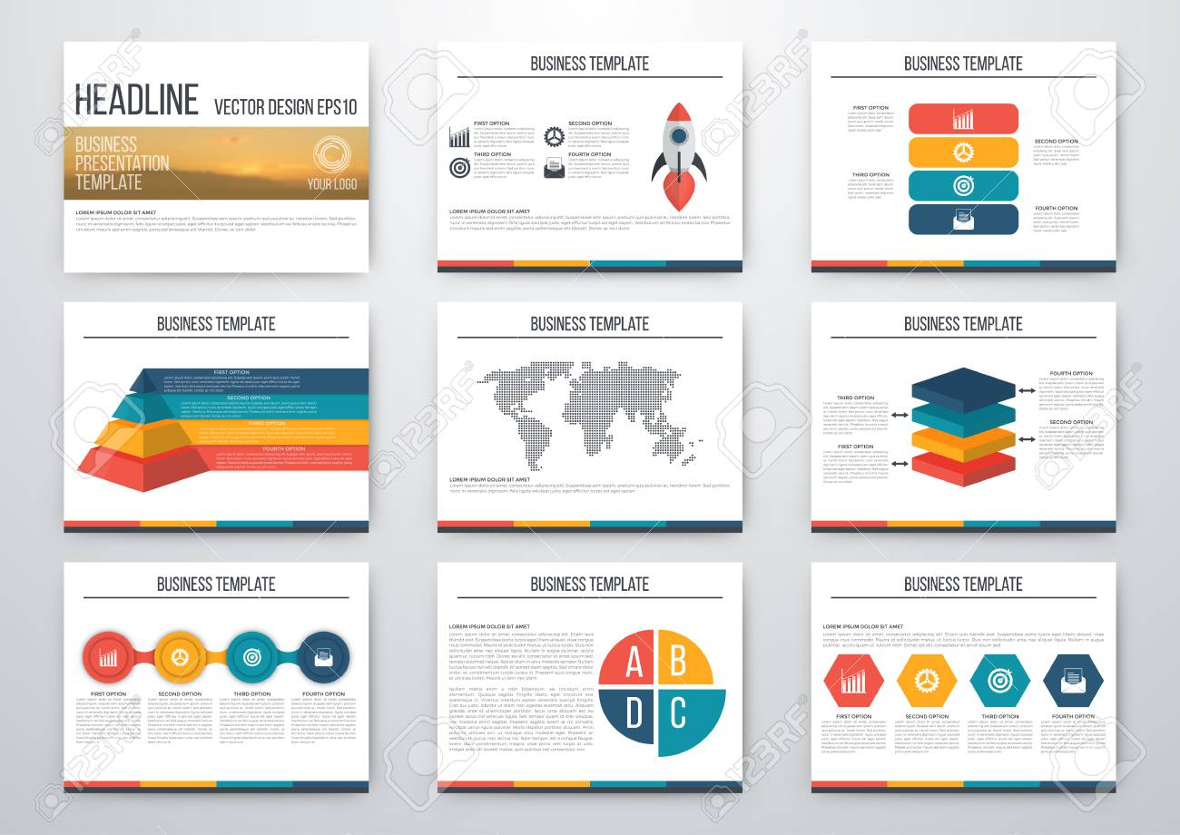 set of infographic elements presentation template book cover