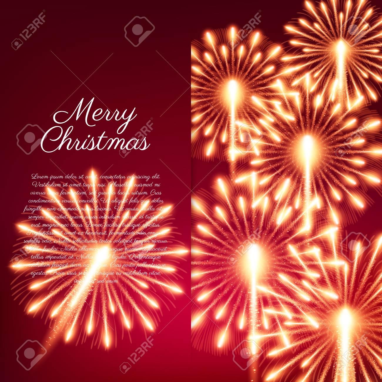Fuegos Artificiales Feliz Navidad Ilustracion Del Vector Bonito