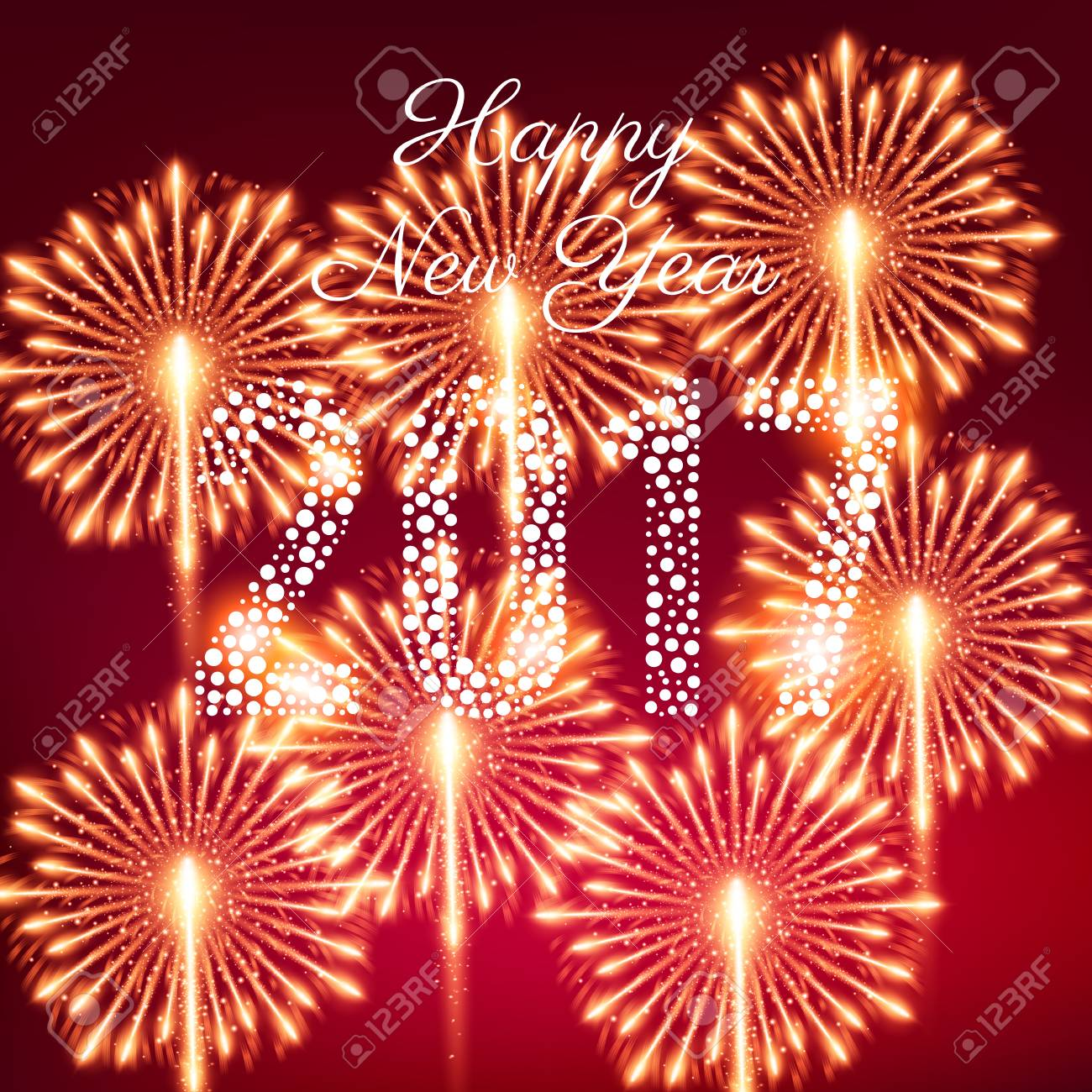 Los Fuegos Artificiales De La Feliz Ano Nuevo 2017 Ilustracion Del