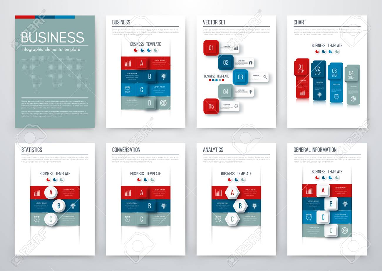Set With Infographics Data And Information Visualization Template