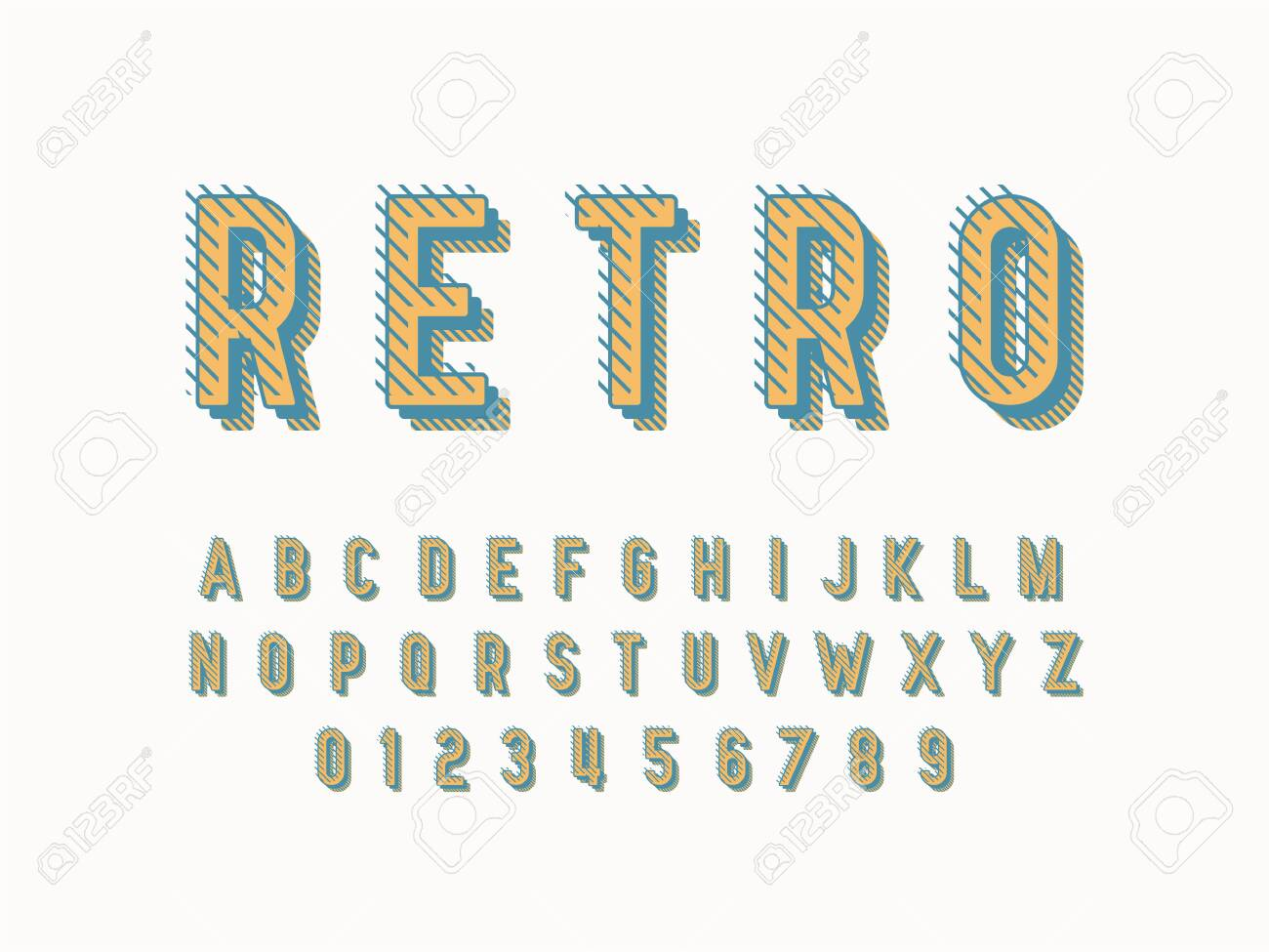 Stylish trendy logotype Retro Bar. 3D colorful Font. Vintage style bright Alphabet Letters, Numbers and Symbols - 147733191