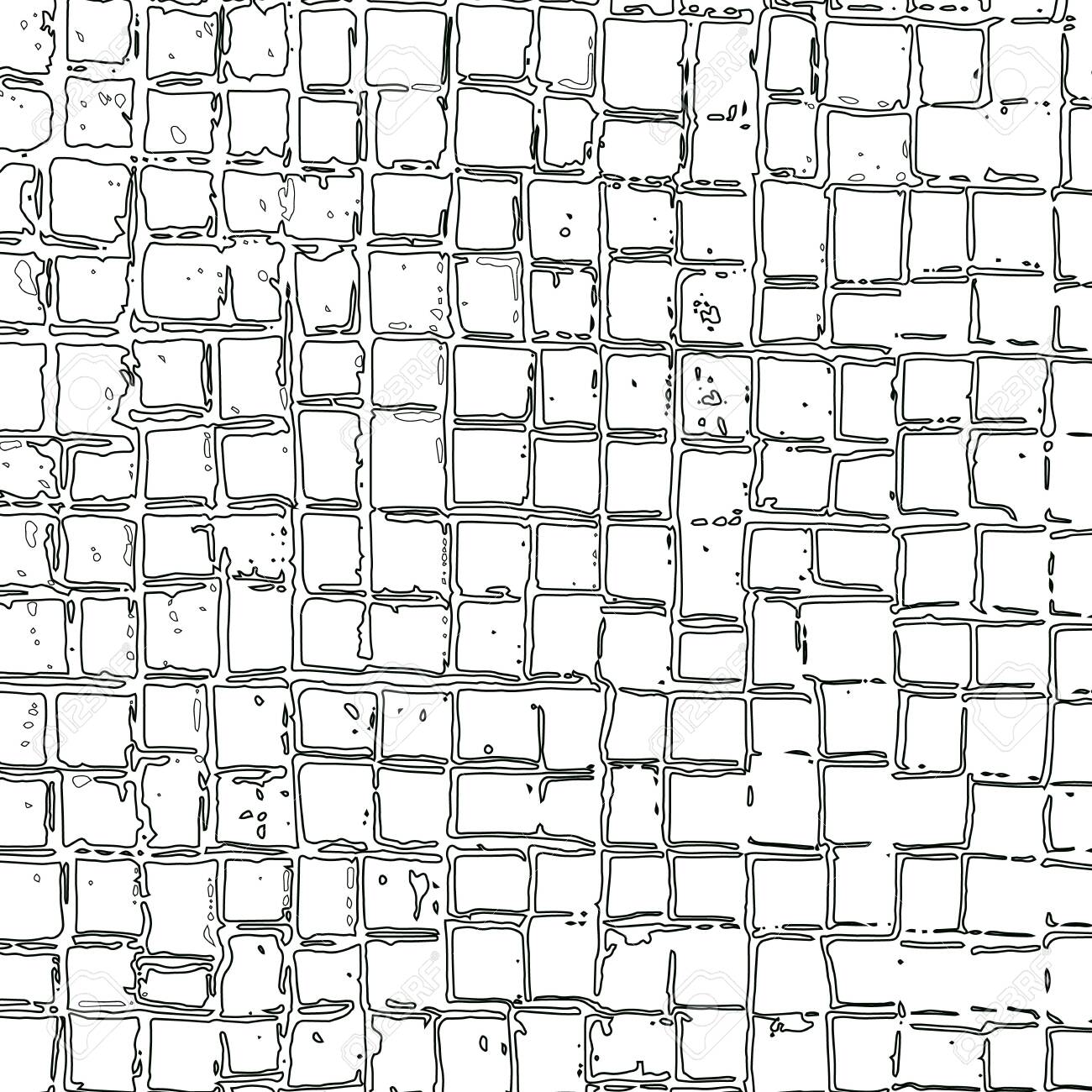 Abstract grid of repeating outline squares of different sizes and distances between cells. Vector maze. Illustration with hand-drawn grid squares for background, game, animation, web, print, ceramics, T shirt. - 140444080
