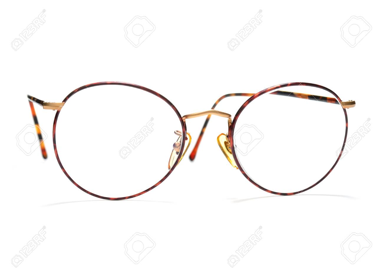 Round Tortoise Frame Eyeglasses Isolated On White Background Stock ...