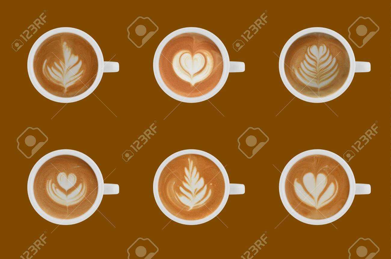 Variety of cups of coffee latte on colour background - 141638219