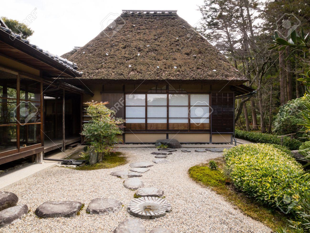 Japonais Jardin De Rocaille Avec Maison De The Banque D Images Et