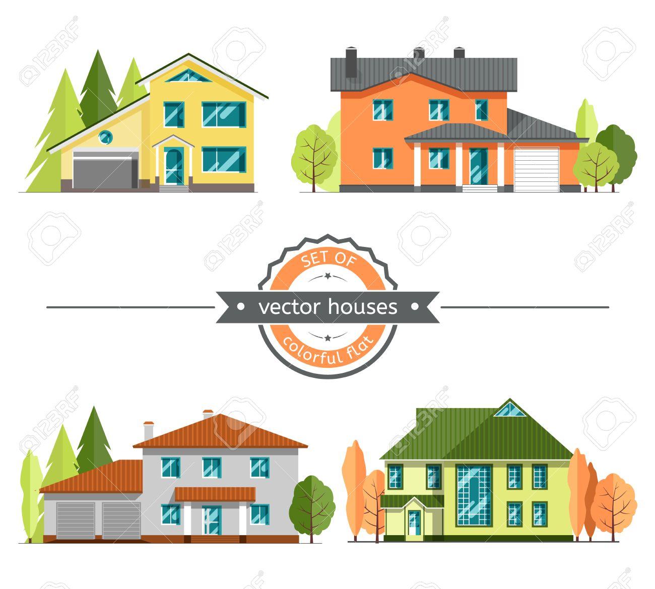 Satz Von Flachen Vektor Häuser Auf Weißem Hintergrund ...