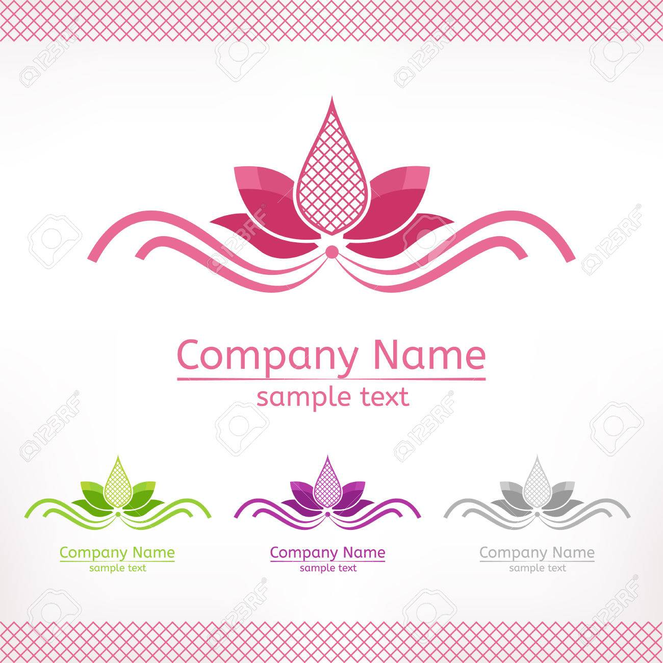 stylized pink lotus flower template logo design in green purple