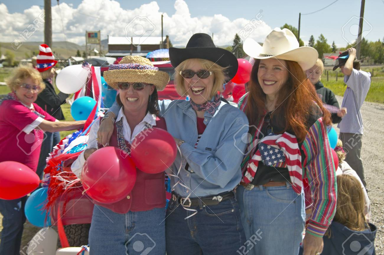 Three women dressed for the Fourth of July in Lima Montana Stock Photo - 19962156
