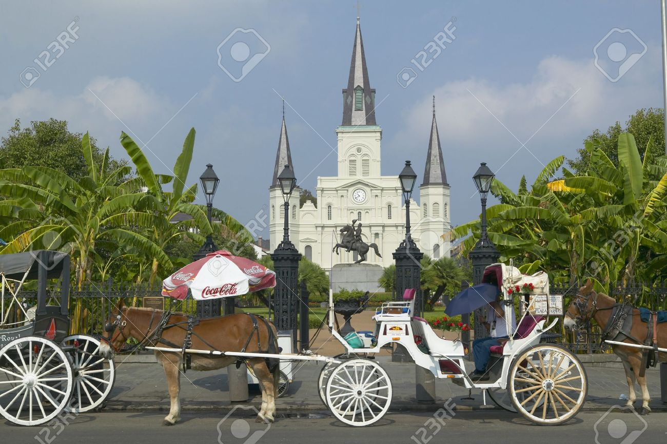 d141ea51ff5 Horse Carriage and tourists in front of Andrew Jackson Statue   St. Louis  Cathedral