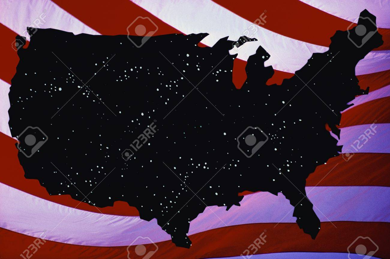 This Is A Map Of The United States Silhouetted In Black With - Us map all white red background