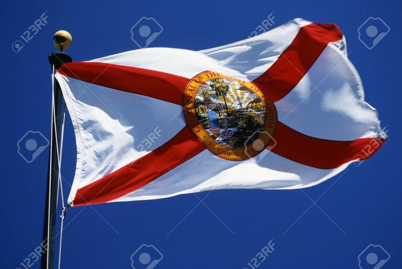 Questo è Lo Stato Di Bandiera Sventola Nel Vento E Su Un Pennone Contro Un Cielo Blu Ha Una Croce Rossa Su Uno Sfondo Bianco Con Un Sigillo