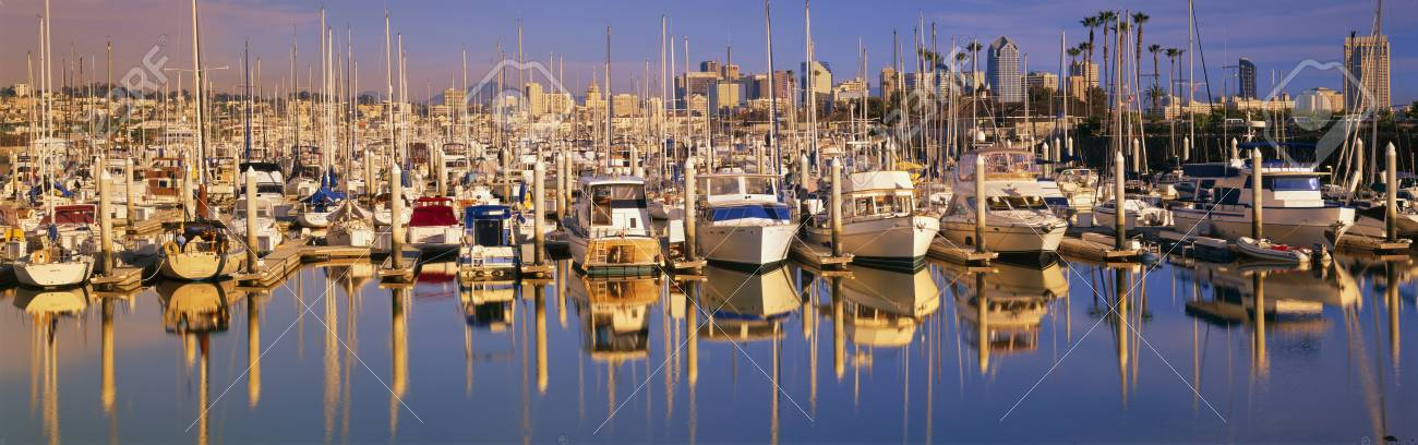 Boats docked at San Diego,CA marina Stock Photo - 20474689
