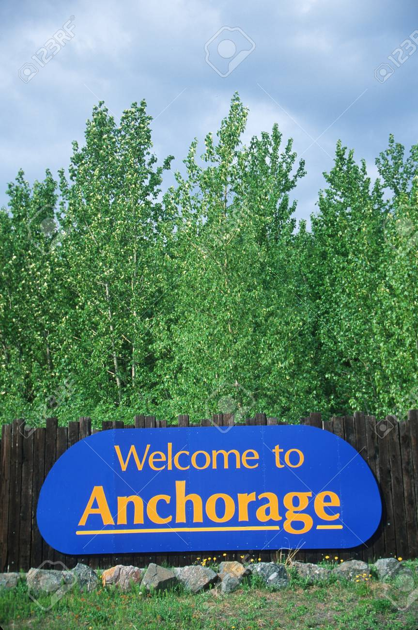 Welcome to Alaska Sign Stock Photo - 20486571