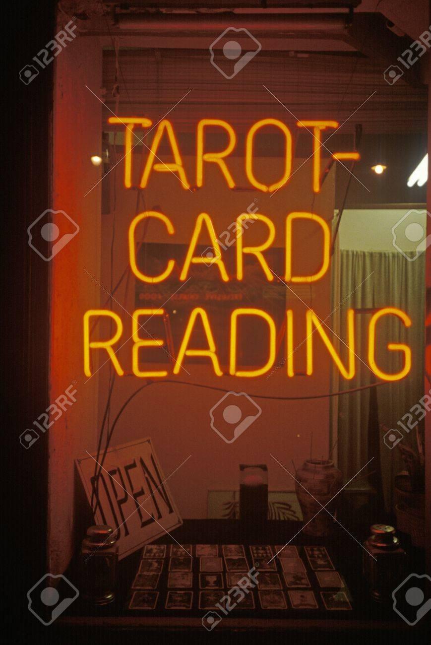 Neon Tarot Card Reading Sign