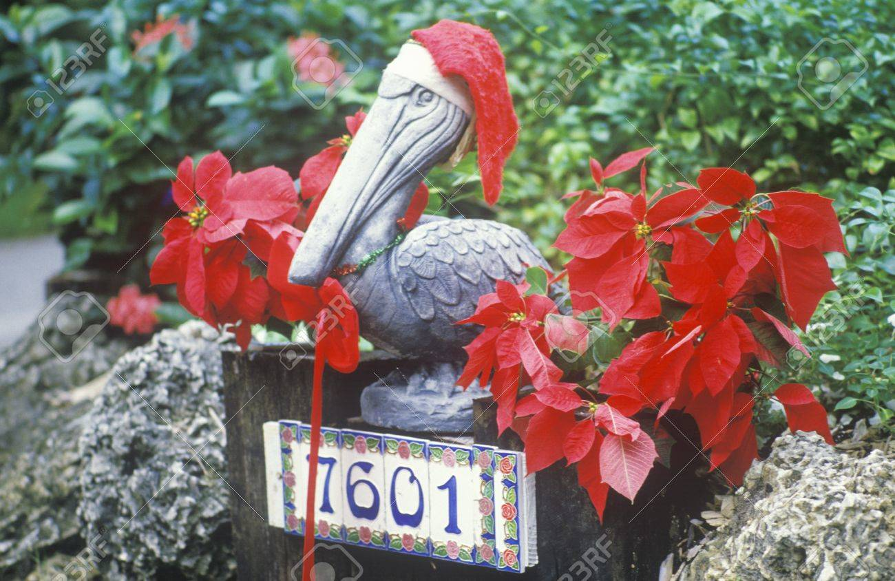 Christmas Decorations In Yard Of House, Key West, Florida Stock ...