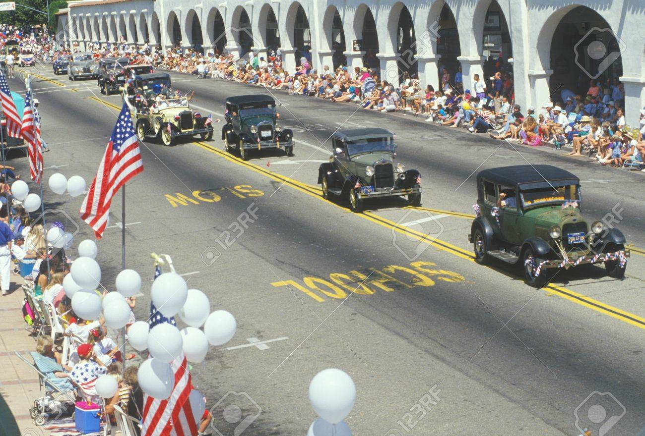 Antique Cars In July 4th Parade, Ojai, California Stock Photo ...