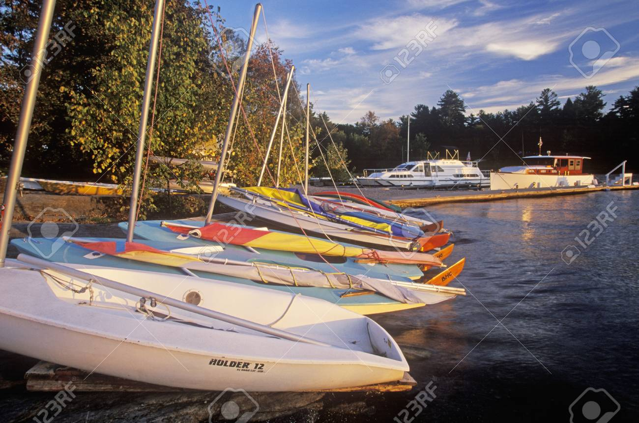 Boats at sunset in the Basin Harbor in Vermont