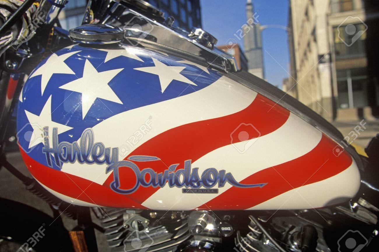 A Red White And Blue Harley Davidson Motorcycle In Chicago, Illinois