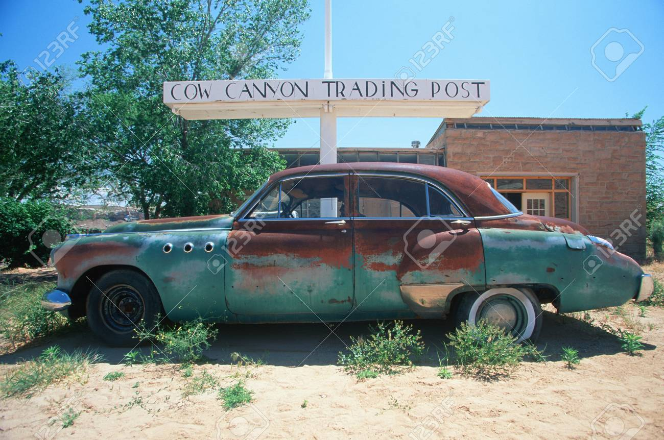 A Junk Car At The Cow Trading Post In Arizona Stock Photo, Picture ...