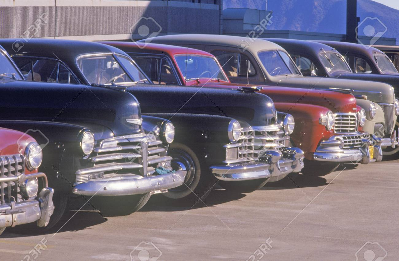 A Row Of Classic Cars For The Movies In Burbank, California Stock ...