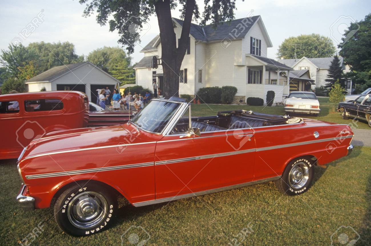 Vintage Cars Parked On A Lawn In Wisconsin Stock Photo, Picture And ...