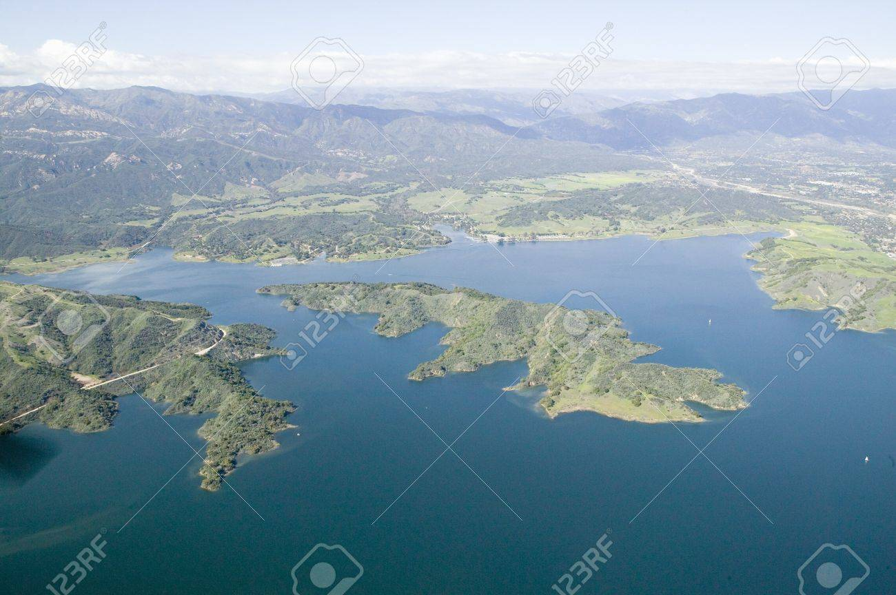 Aerial view of lake island within Lake Casitas in spring in Ventura