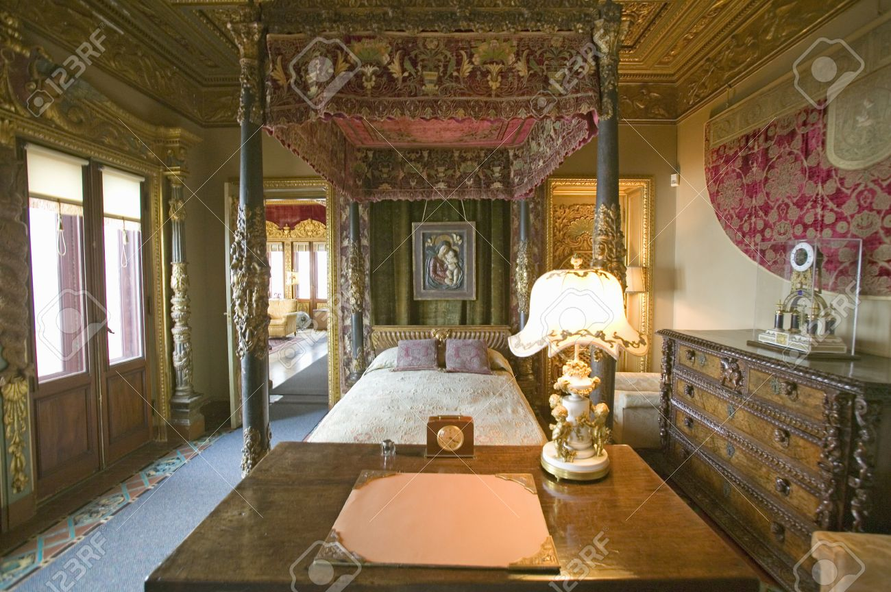interior of guest bedroom at hearst castle