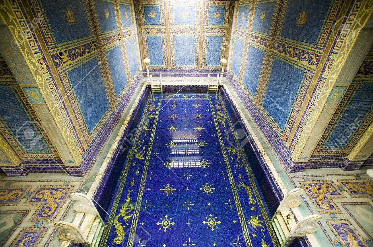 indoor roman pool at hearst castle, san simeon, california, where