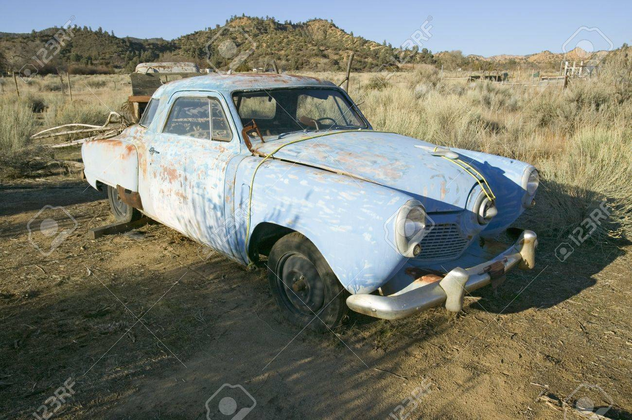 Junk Early 50\'s Blue Studebaker Deserted In Field Off Highway ...
