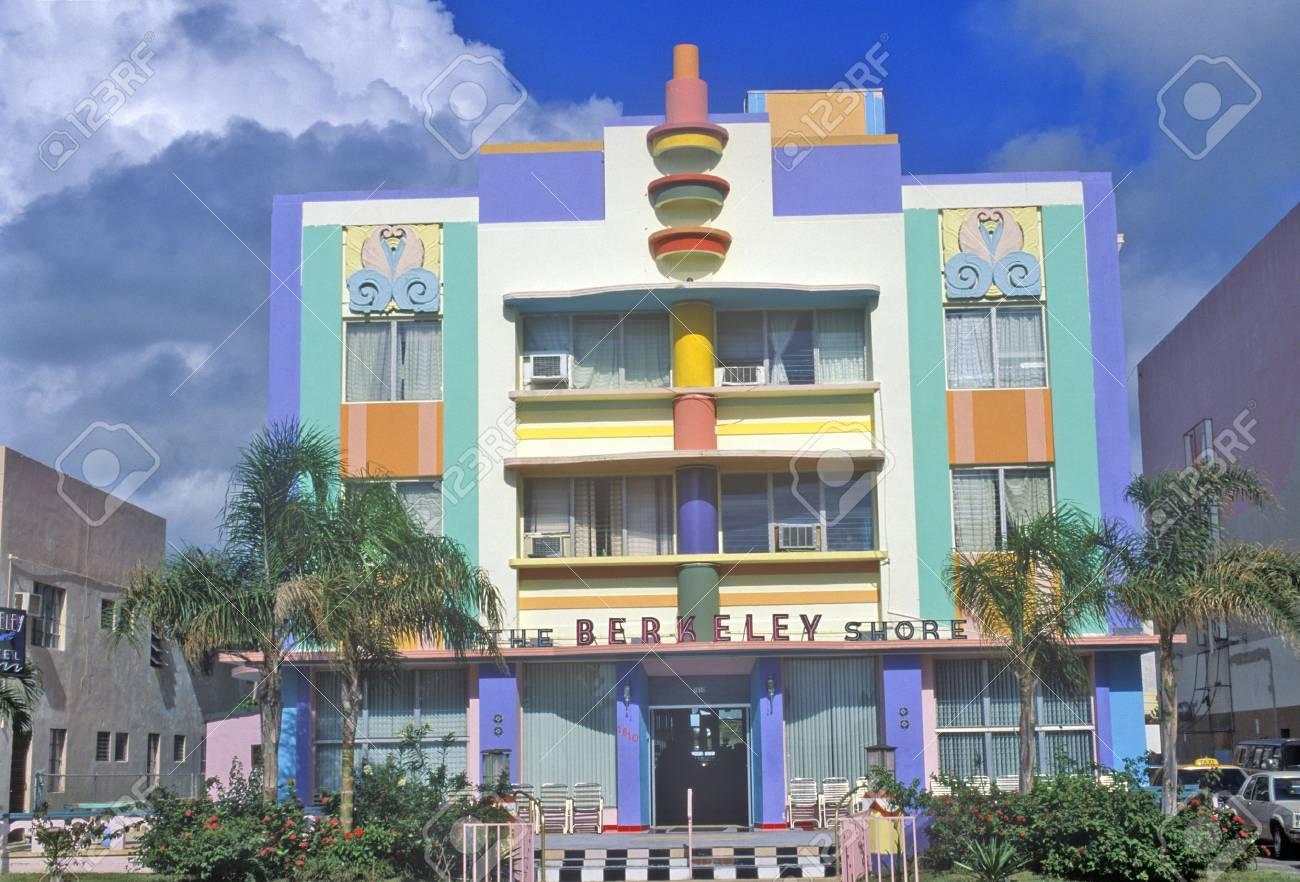 the berkeley shore located in the art deco district of miami stock
