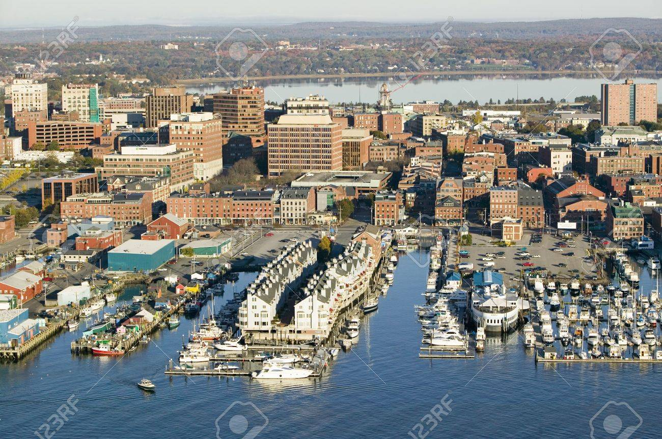 Aerial of downtown Portland Harbor and Portland Maine with view
