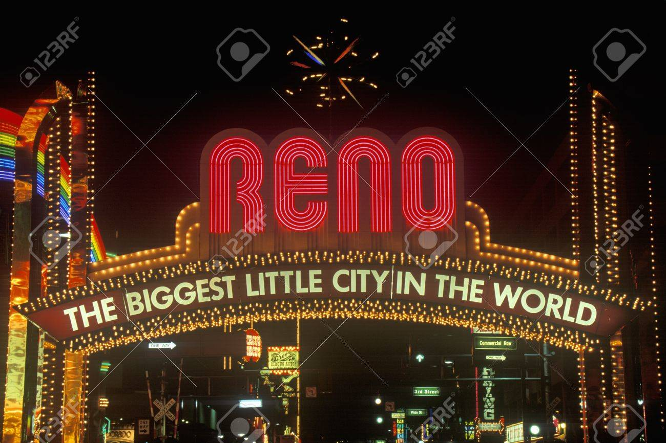 neon lights at night in reno nv stock photo picture and royalty