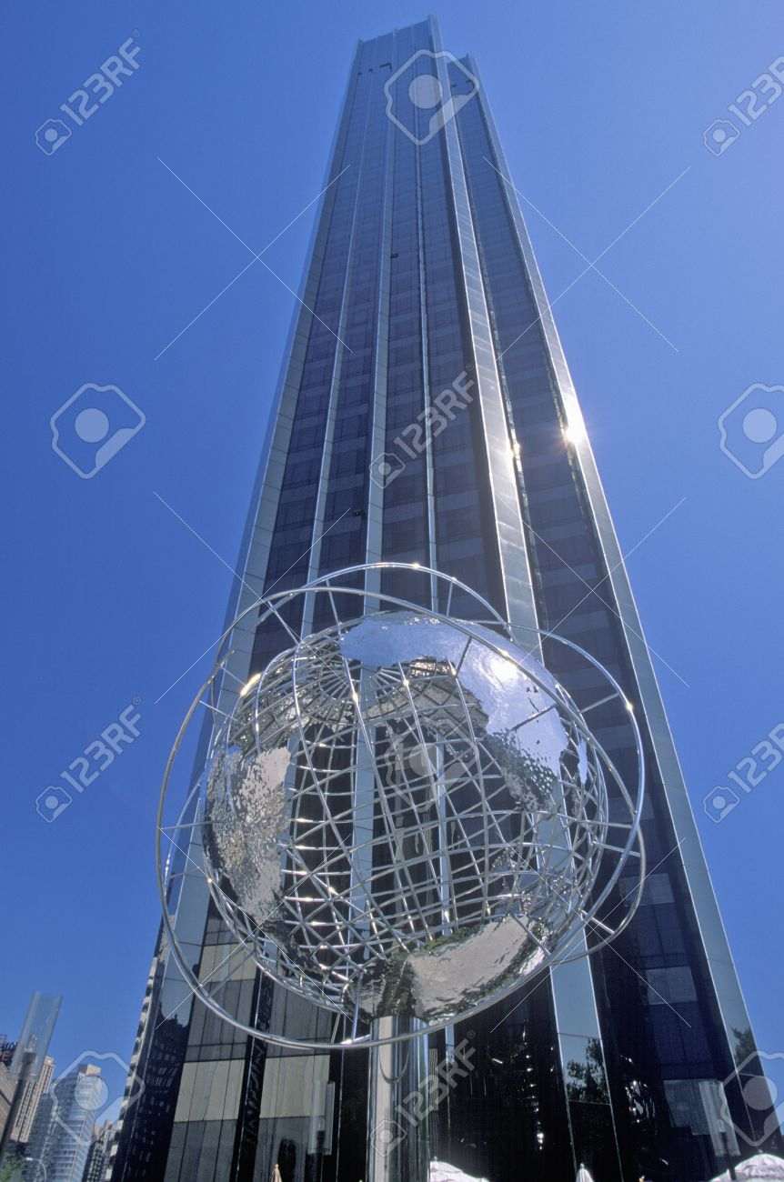 Globe sculpture in front of trump international hotel and tower on 59th street new york
