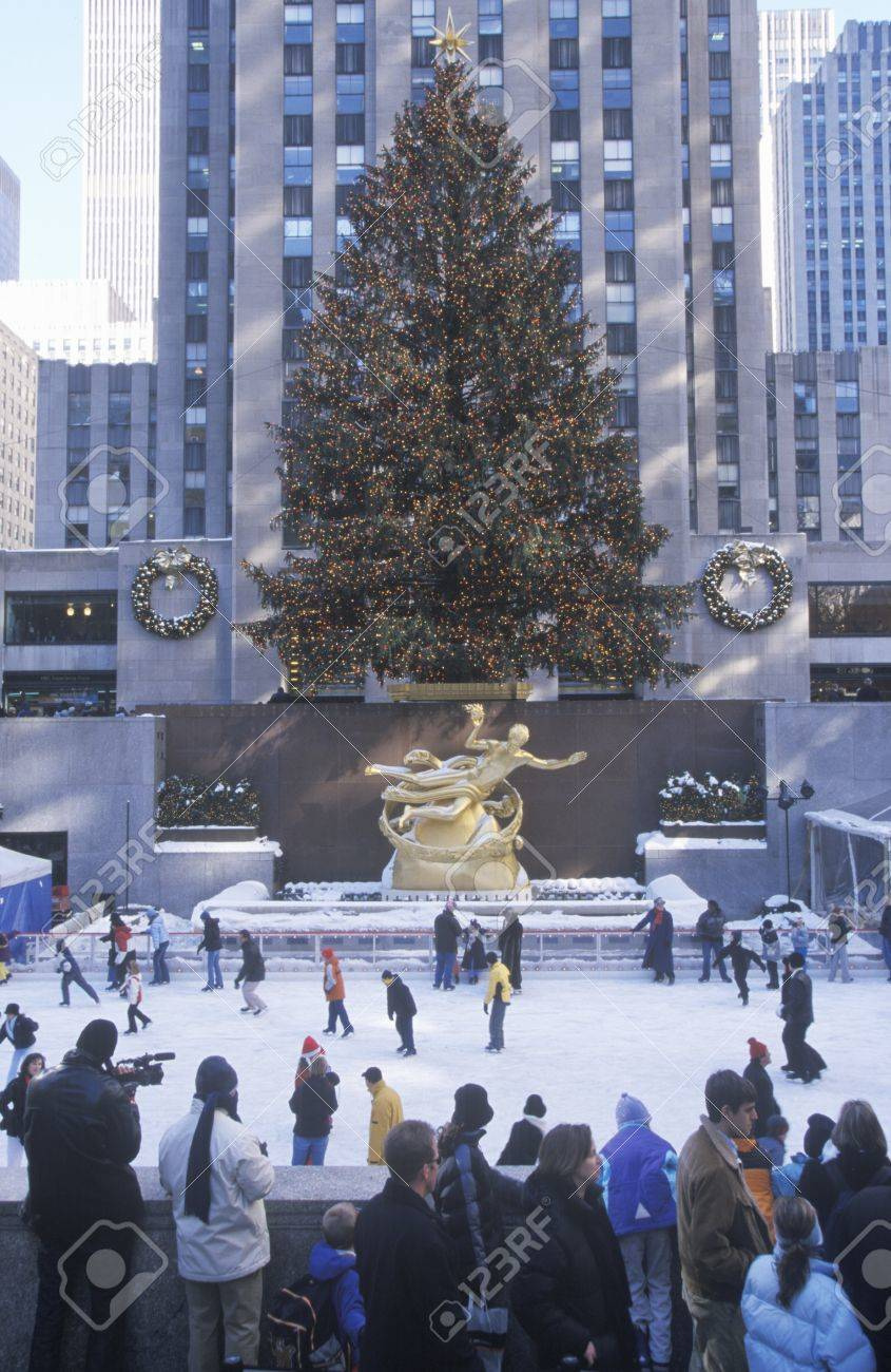 Rockefeller Square With Snowy Ice Skating Rink And Christmas.. Stock ...
