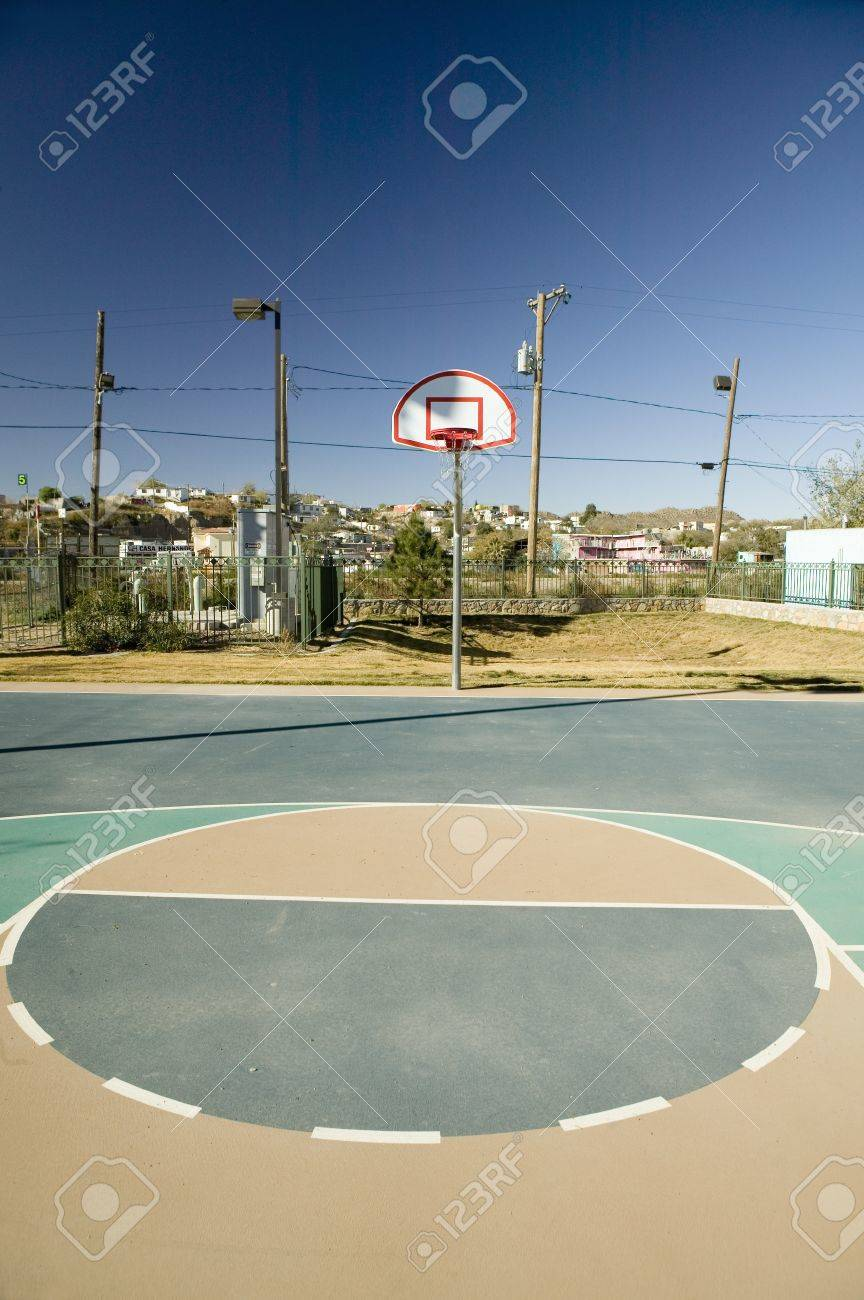 Basketball Hoop And Court In El Paso Texas Looking Toward Juarez Stock Photo Picture And Royalty Free Image Image 20491733
