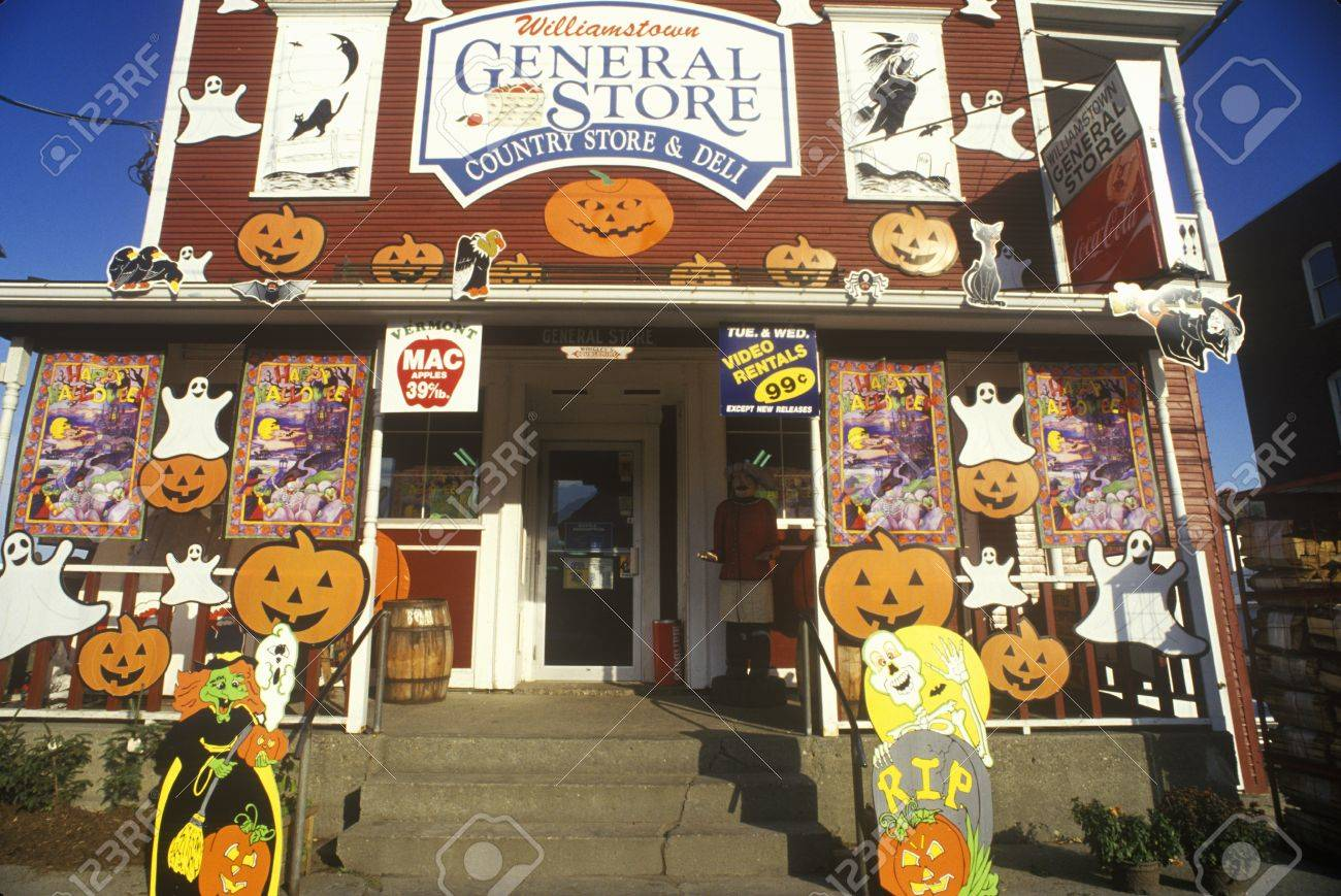 Country Store In Williamstown Vt Covered With Halloween Decorations