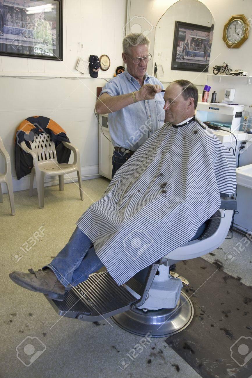 Man Getting Haircut In Gordon S Barbershop In Palisade Colorado