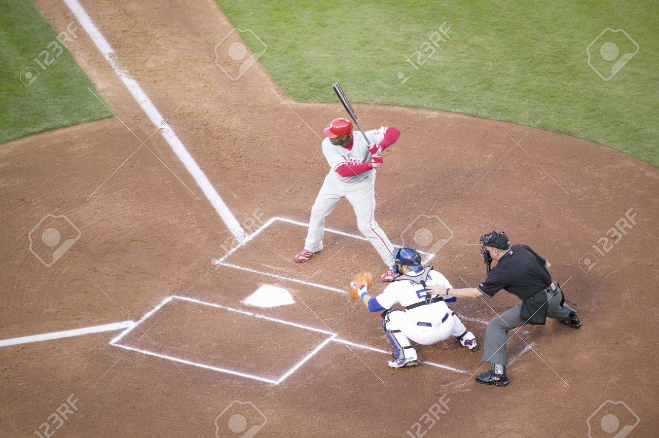 Philadelphia Phillies Ryan Howard, #6, left hand batter and National League Home Run and RBI Champion, Dodger Stadium, Los Angeles, CA on October 12, 2008 Stock Photo - 20512199