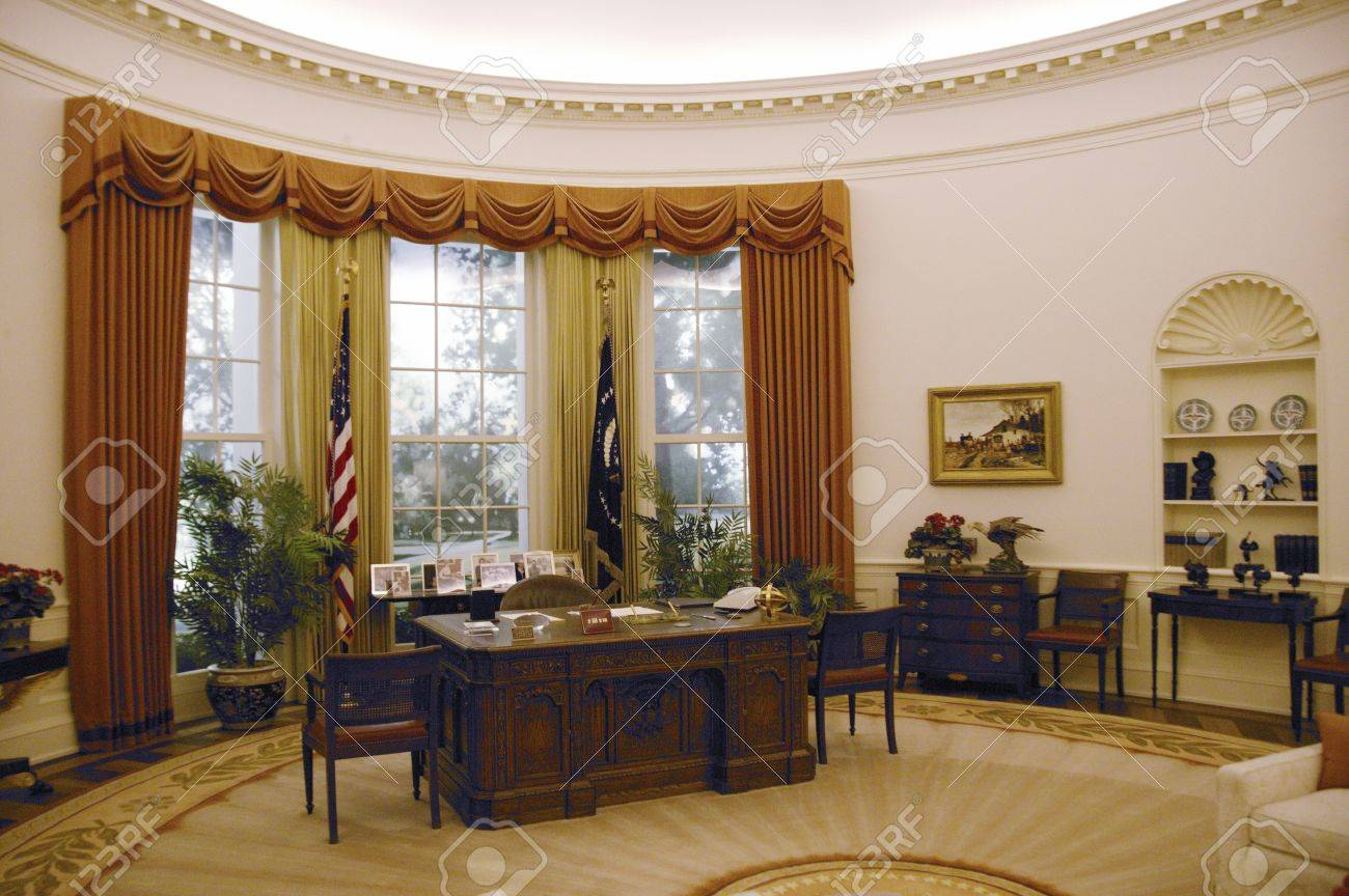reagan oval office. Replica Of The White House Oval Office At Ronald W. Reagan Presidential Library Stock C