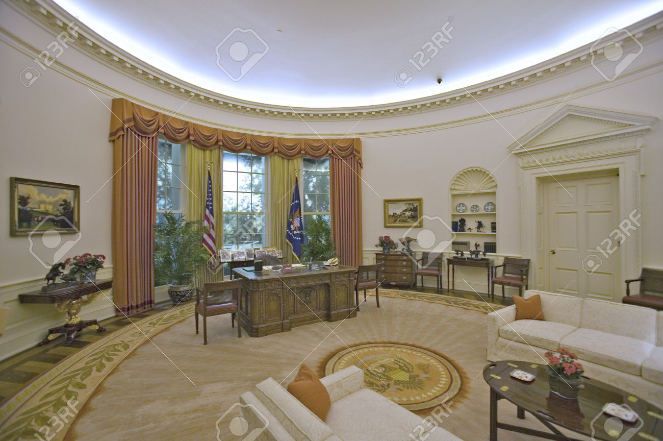 the white house oval office. replica of the white house oval office on display at ronald reagan presidential library and
