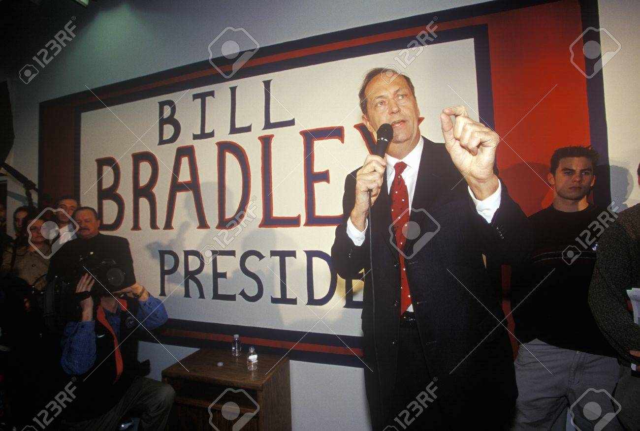 Democratic Presidential Candidate Bill Bradley Addresses A Rally