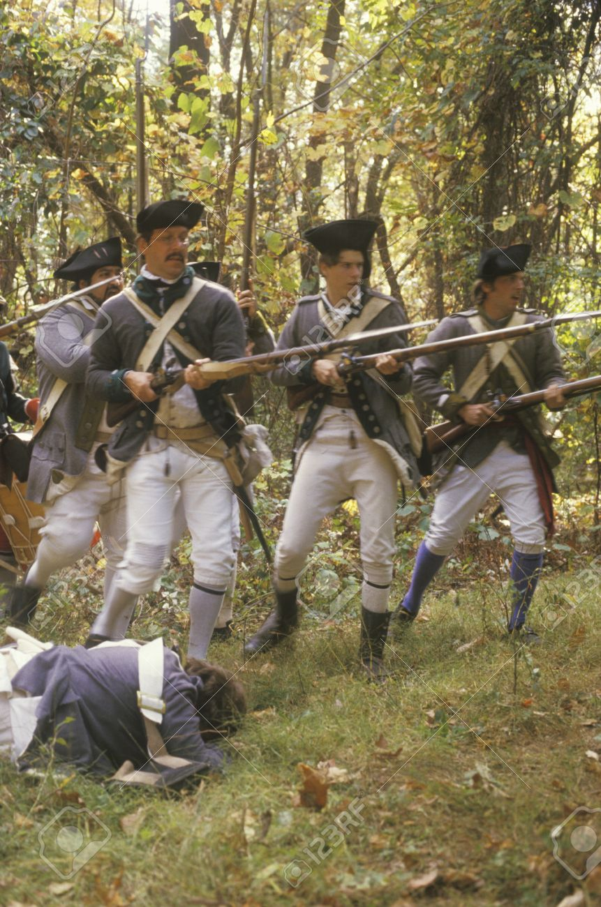 American soldiers during Historical American Revolutionary War