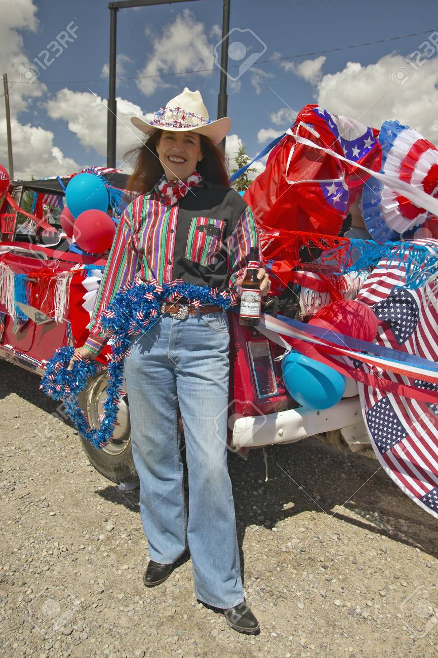 Cowgirl on the Fourth of July,in Lima Montana Stock Photo - 20713692
