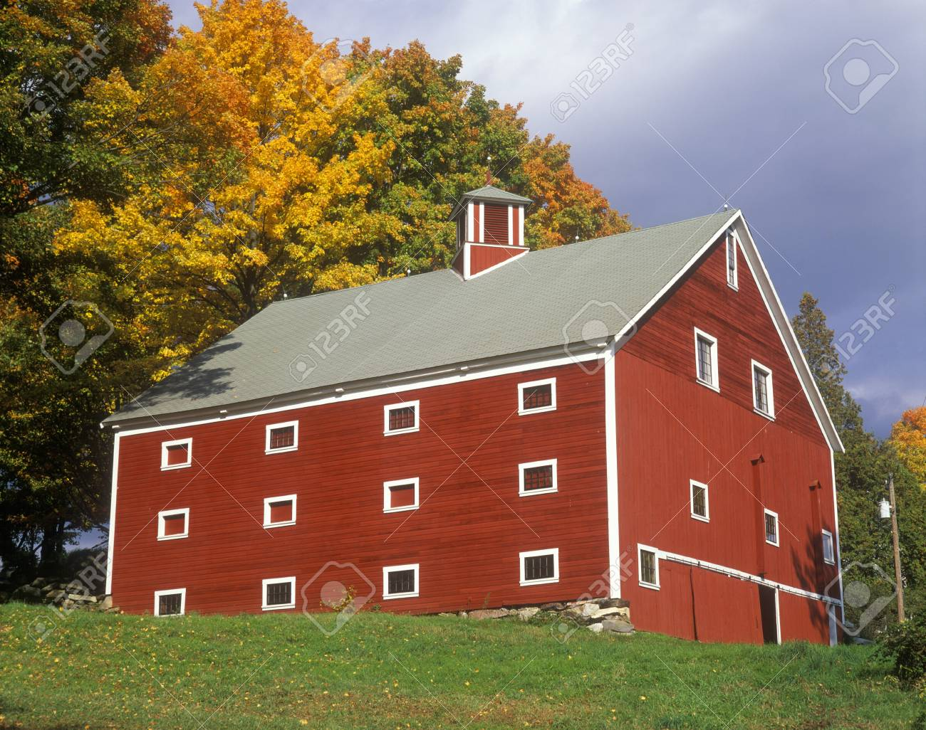 Red barn in Autumn in VT