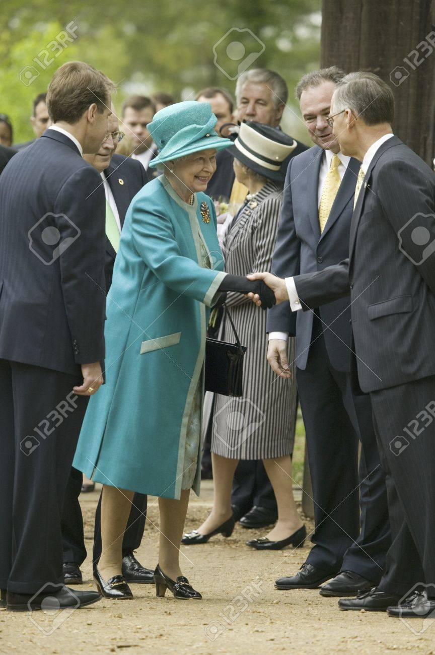 Phil Emerson (left) and Her Majesty Queen Elizabeth II shaking hand of Senator Tommy Norment during her official visit James Fort, Jamestown Settlement, Virginia on May 4, 2007, the 400th Anniversary of English establishment of 1607 Jamestown Colony, Virg - 20802885