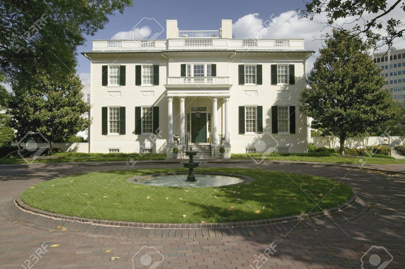Water fountains virginia - Stock Photo Water Fountain And Virginia Governor S Mansion Richmond Virginia
