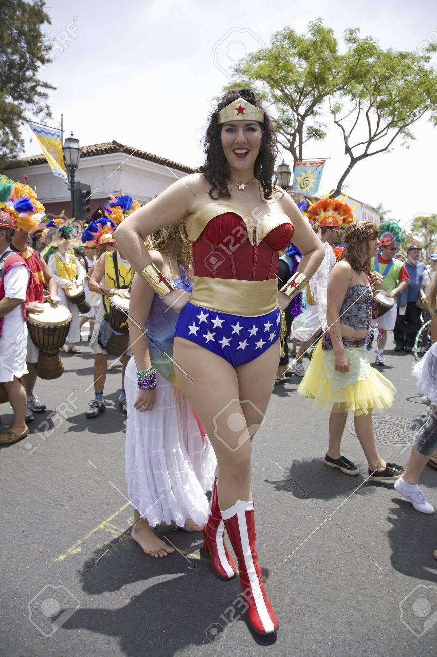 533bb78e36d Stock Photo - Wonder Woman imitator at annual Summer Solstice Celebration  and Parade June 2007