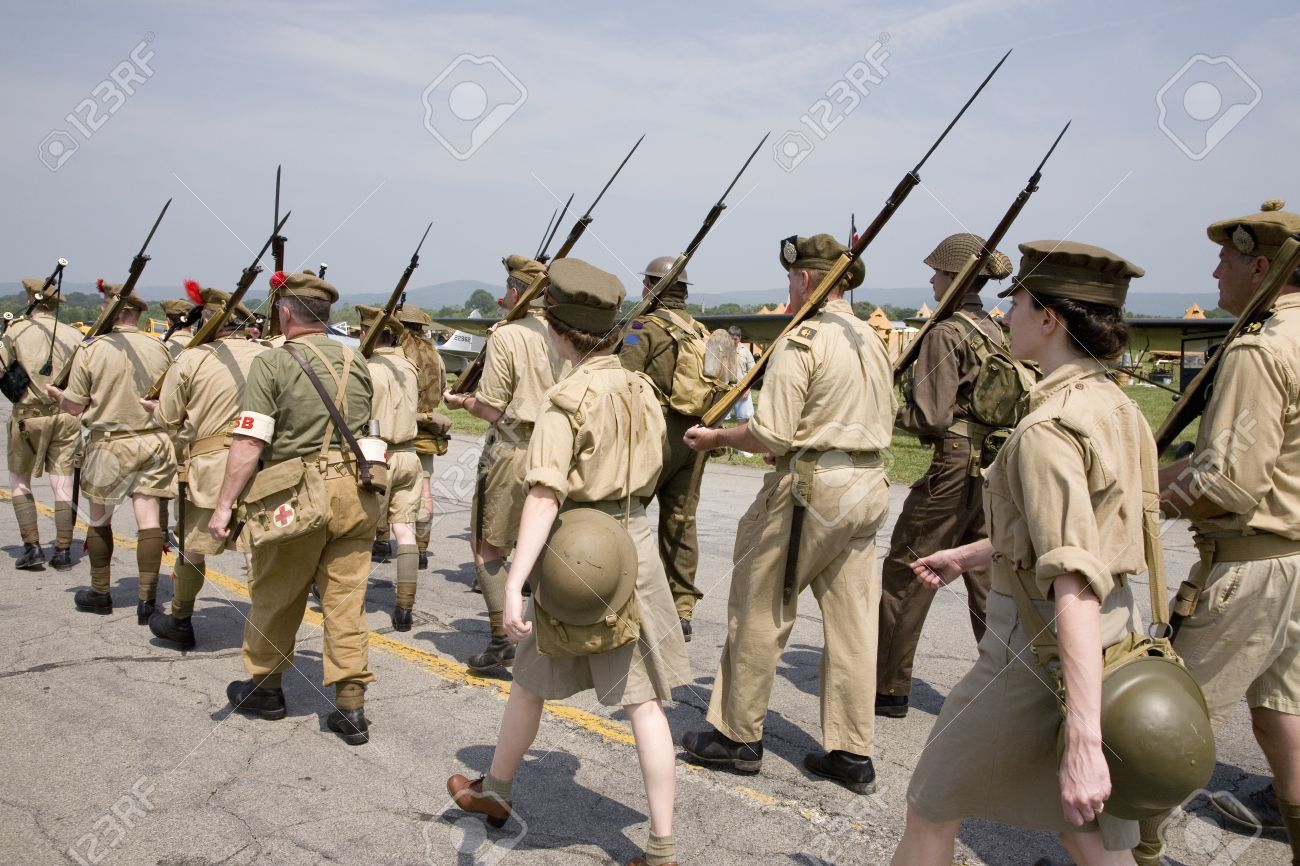 World War II reenactment of marching troops of Great Britain